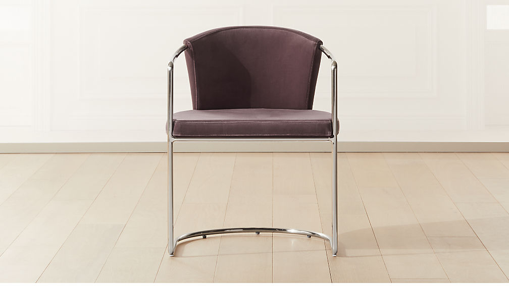 Cleo Orchid Velvet Cantilever Chair - Image 1 of 7