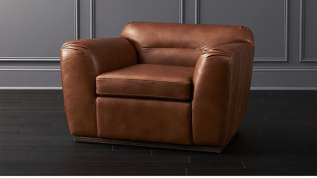 Clive Pleated Saddle Leather Armchair - Image 1 of 6
