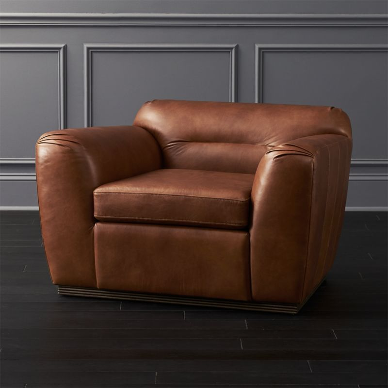 Clive Pleated Saddle Leather Armchair
