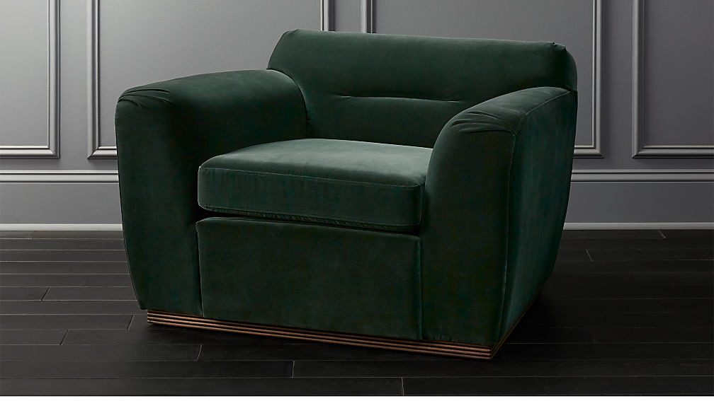 Clive Pleated Spruce Green Velvet Armchair Reviews Cb2