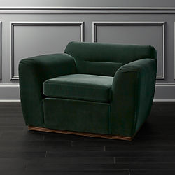 Clive Pleated Spruce Green Velvet Armchair