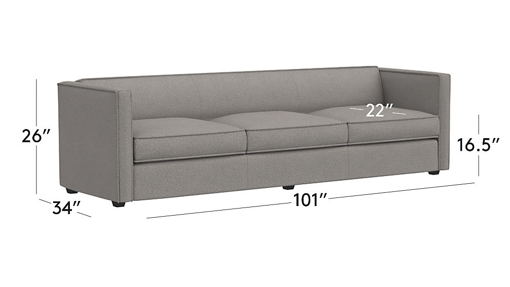 Tap To Zoom Image With Dimension For Club 3 Seater Sofa
