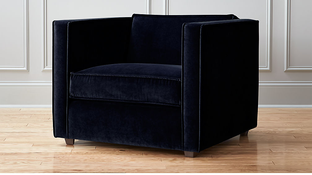 Merveilleux Indigo Blue Velvet Club Chair + Reviews | CB2