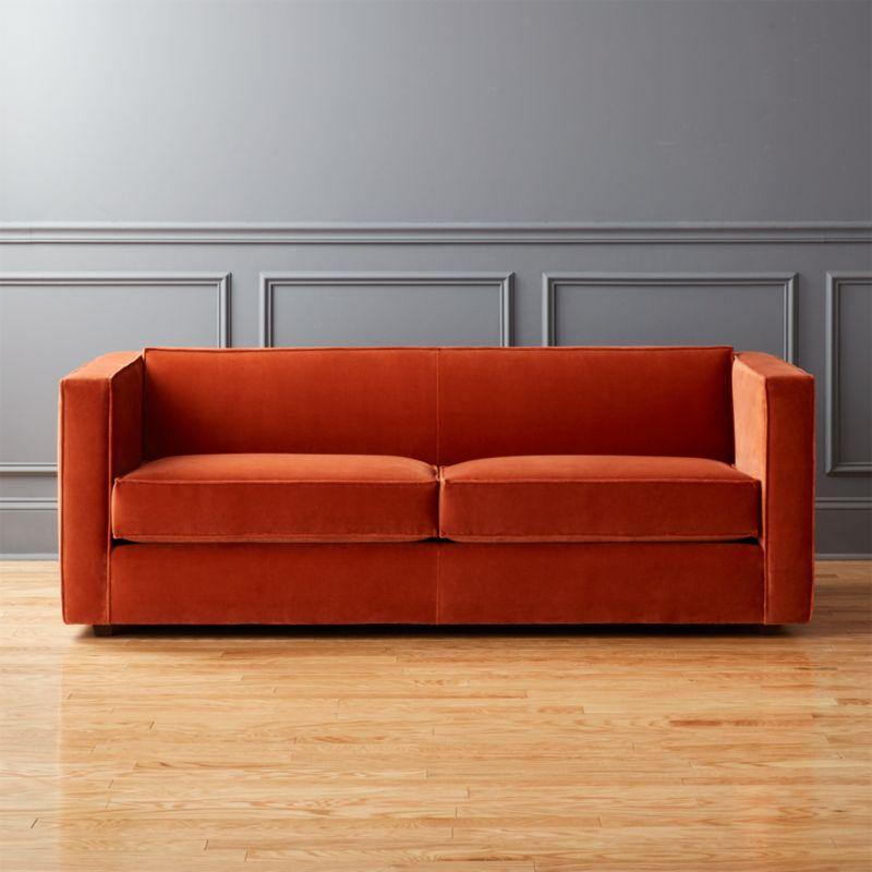 Club Rust Velvet Sofa