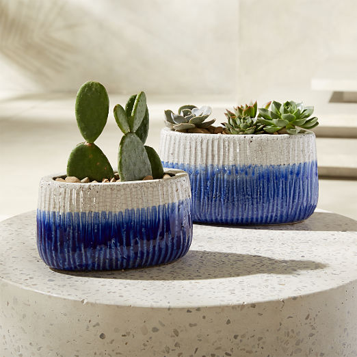 Coastline Mini Blue and White Planter