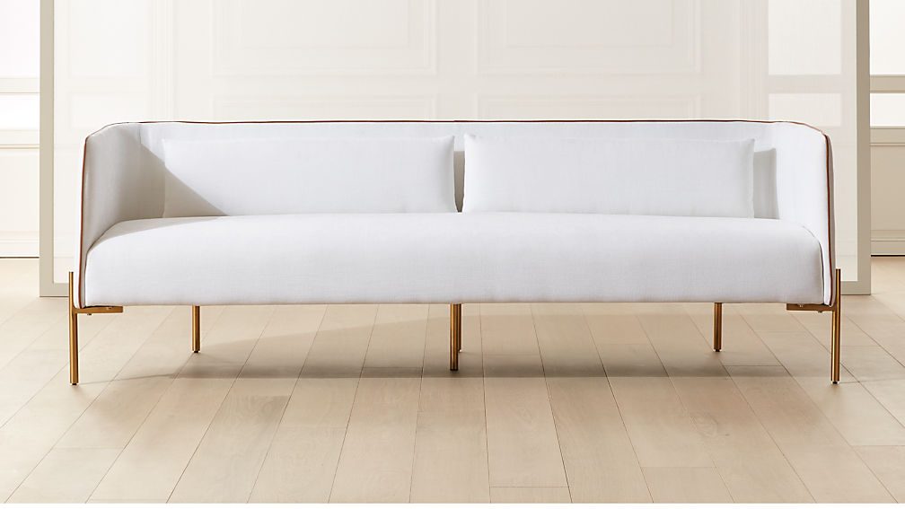 Colette White Sofa with Faux Leather Piping - Image 1 of 7