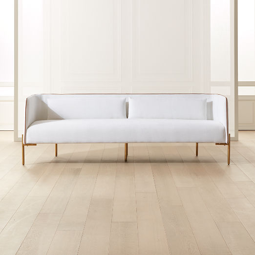 Colette White Sofa with Faux Leather Piping