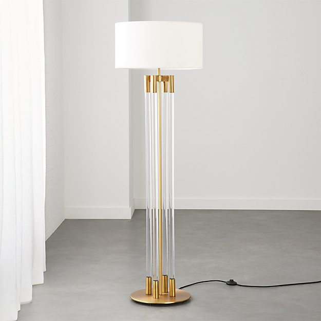 Column Acrylic Floor Lamp with Brass - Image 1 of 7