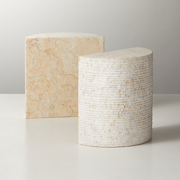 Column Marble Bookends Set of 2 - Image 1 of 4