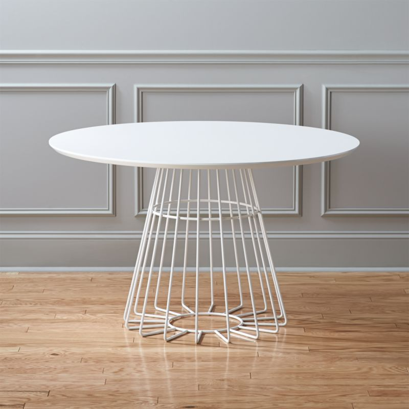 White Pedestal Tables CB - White pedestal table with leaf