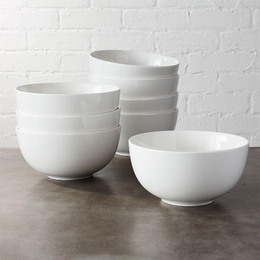 Set of 8 Contact White Bowls