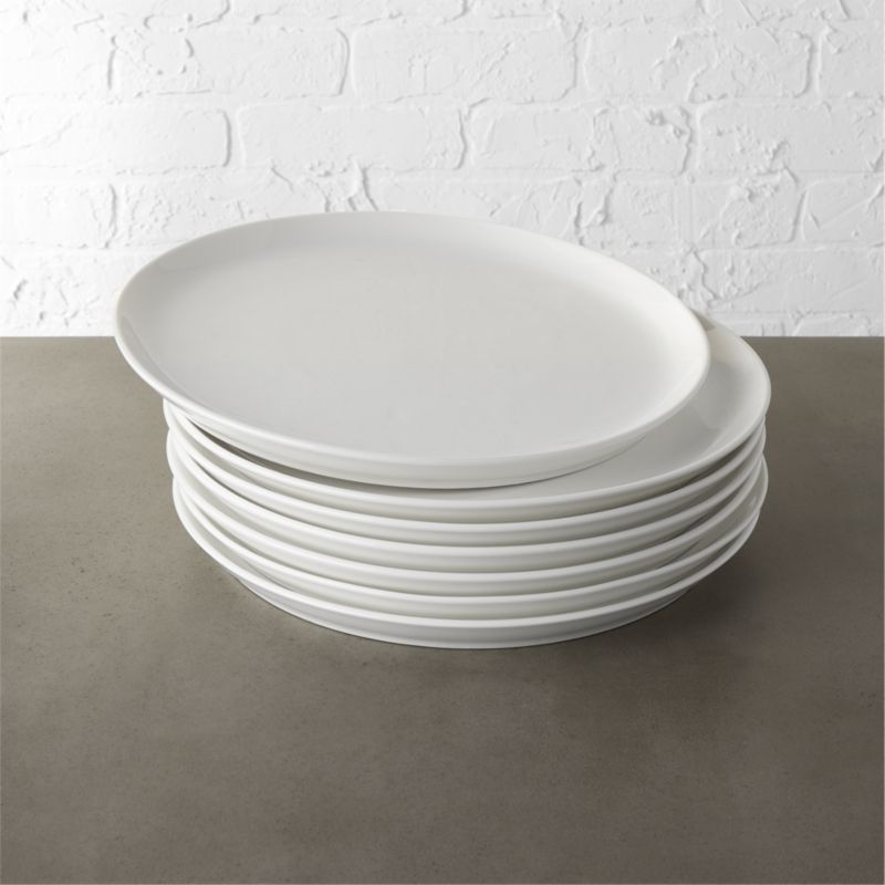 Contact White Dinner Plates Set Of 8 Reviews Cb2