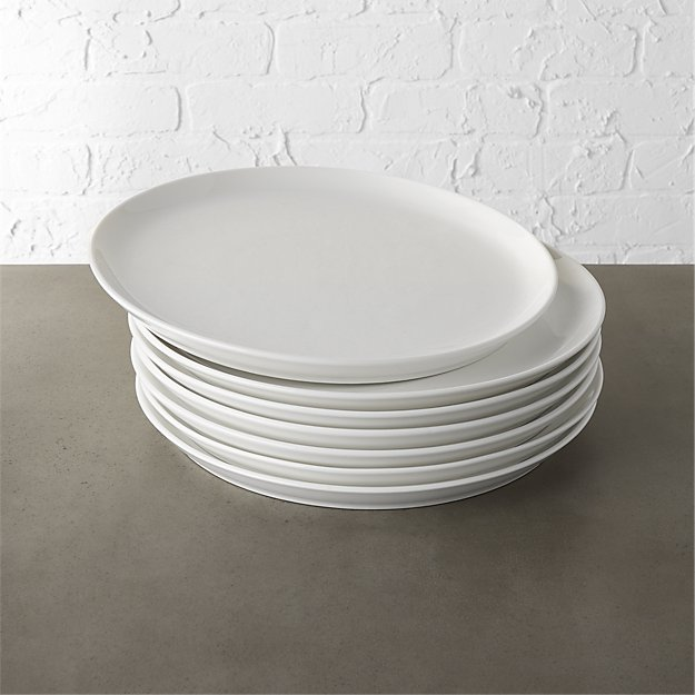Set of 8 Contact White Dinner Plates - Image 1 of 12