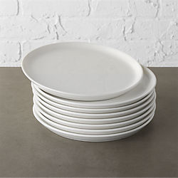 set of 8 contact white salad plates & Modern Dinnerware and Unique Dinnerware Sets | CB2