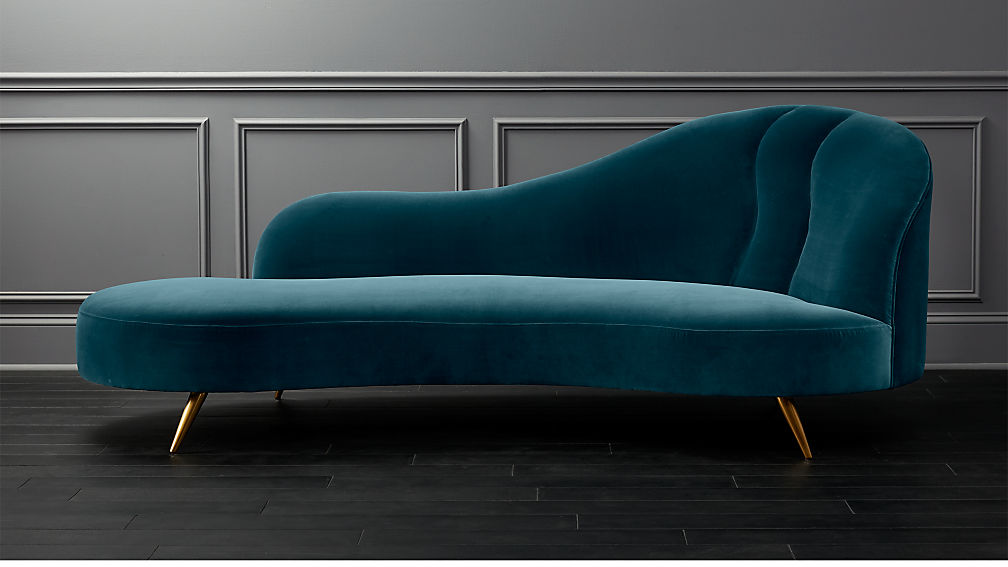 Copine Peacock Velvet Curved Chaise Lounge Reviews Cb2