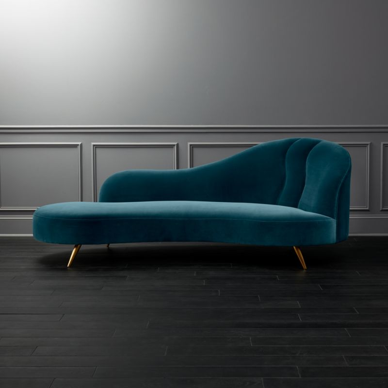 Copine Pea Velvet Curved Chaise Lounge