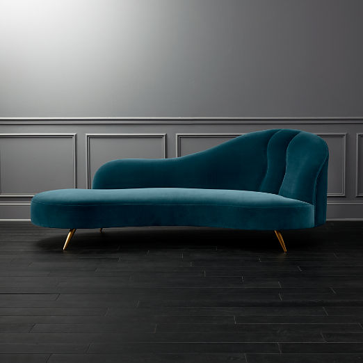 Copine Peacock Velvet Curved Chaise Lounge