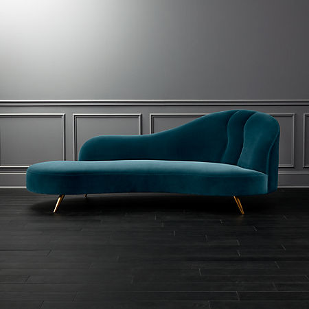 Miraculous Copine Peacock Velvet Curved Chaise Lounge Pabps2019 Chair Design Images Pabps2019Com