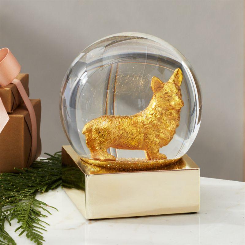 Corgi Gold Snow Globe