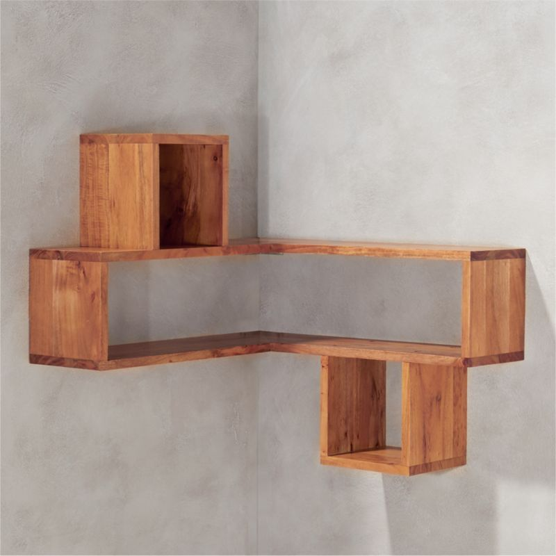 corner wall shelf corner block wood shelf reviews cb2 11667