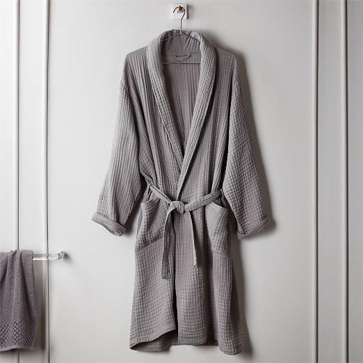 Cotton Gauze Lightweight Grey Bath Robe