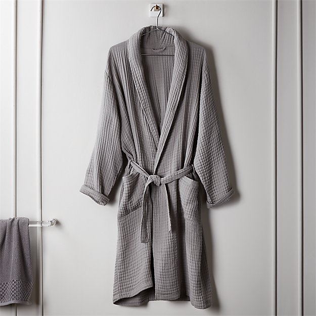 Cotton Gauze Lightweight Grey Bath Robe - Image 1 of 2