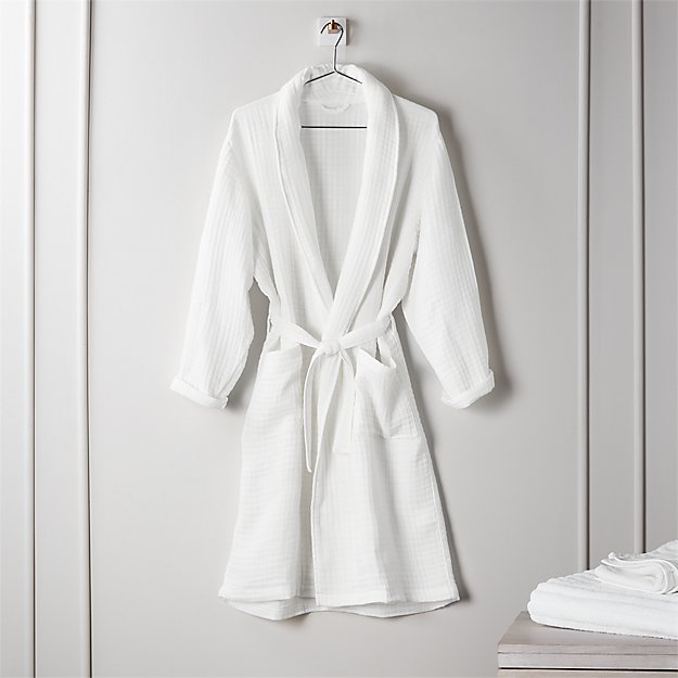 Cotton Gauze Lightweight White Bath Robe - Image 1 of 3