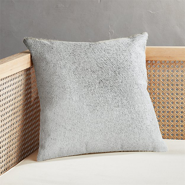 """16"""" Grey and Neutral Cowhide Pillow - Image 1 of 6"""