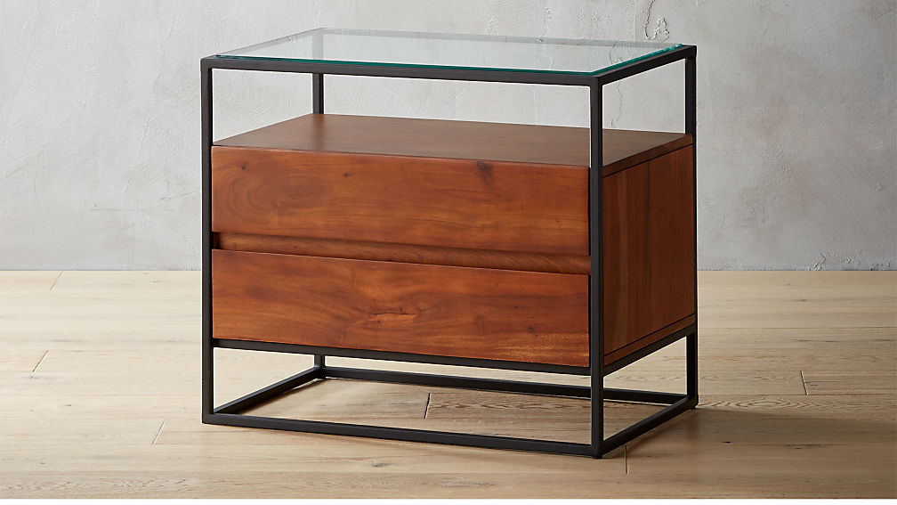 crawford glass top nightstand + reviews | cb2 Night Stand Images