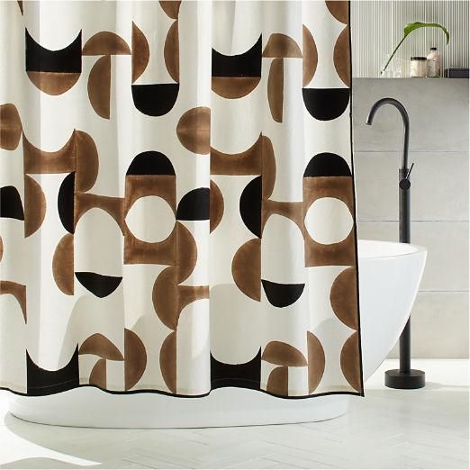 Crescent Blockprint Shower Curtain