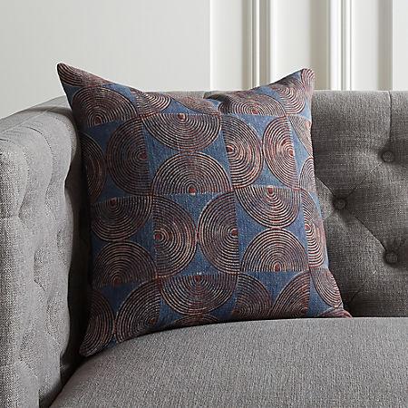 16 Crescente Indigo Block Print Pillow Cb2