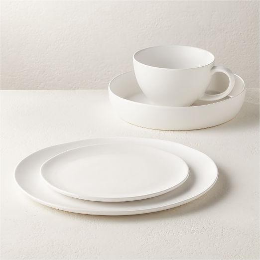 4-Piece Crisp Matte White Place Setting with Pasta Bowl