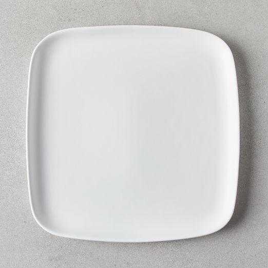 Crisp Matte White Square Dinner Plate