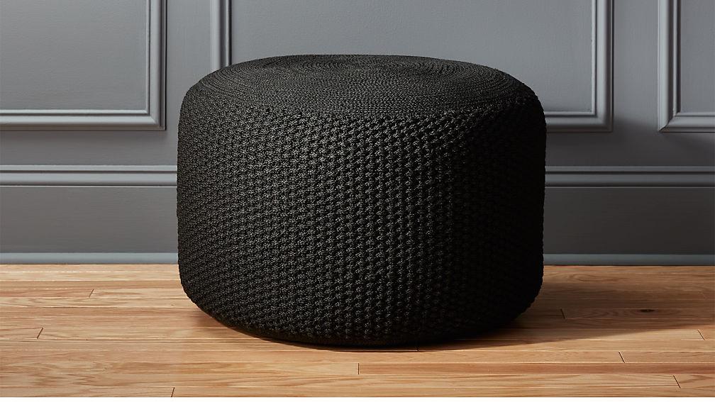 Criss Knit Black Pouf - Image 1 of 5