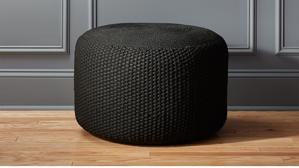 Criss Knit Black Pouf Reviews Cb2