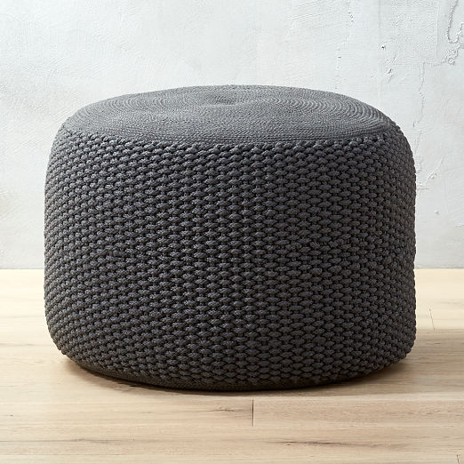 Criss Knit Grey Pouf