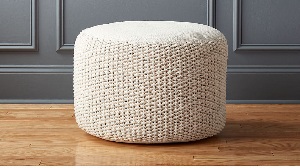 Criss Cream Knit Pouf Reviews Cb2