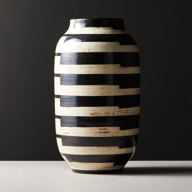 Cristo Black And White Striped Vase Reviews Cb2