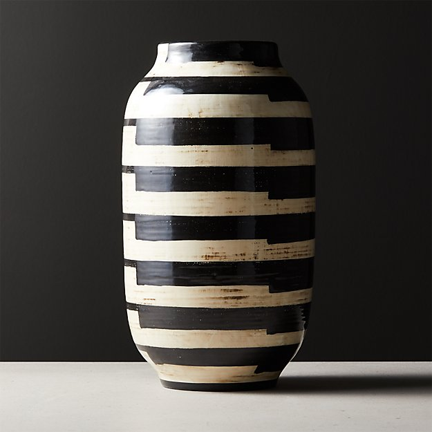 Cristo Black and White Striped Vase - Image 1 of 5