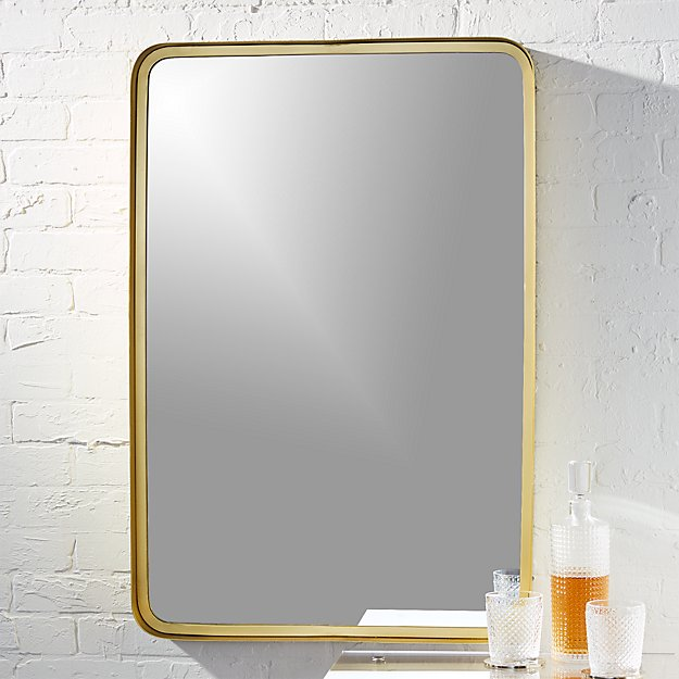 gold bathroom mirrors brass rectangular mirror reviews cb2 12986