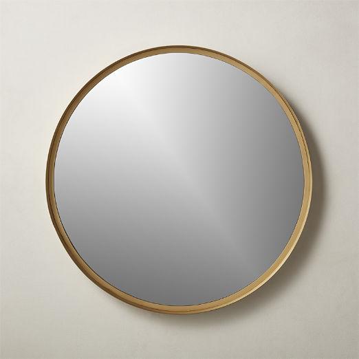 """Croft Round Brass Mirror 36"""""""