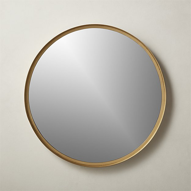"""Croft Round Brass Mirror 36"""" - Image 1 of 6"""