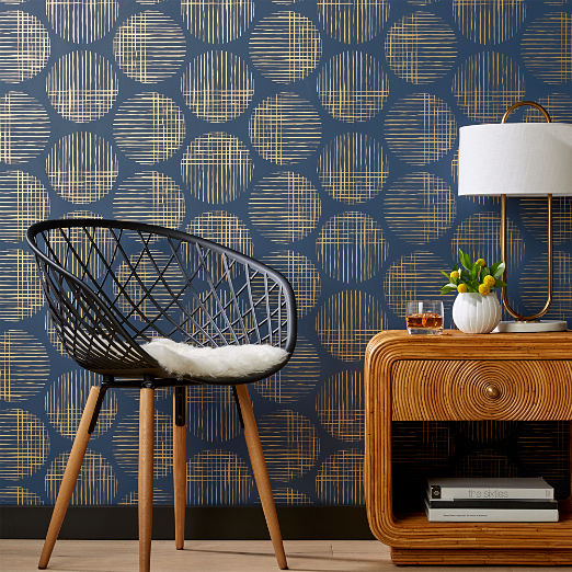 Cross Hatch Circles Gold and Navy Wallpaper