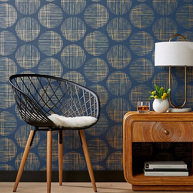 Cross Hatch Circles Gold and Navy Wallpaper - Image 1 of 2