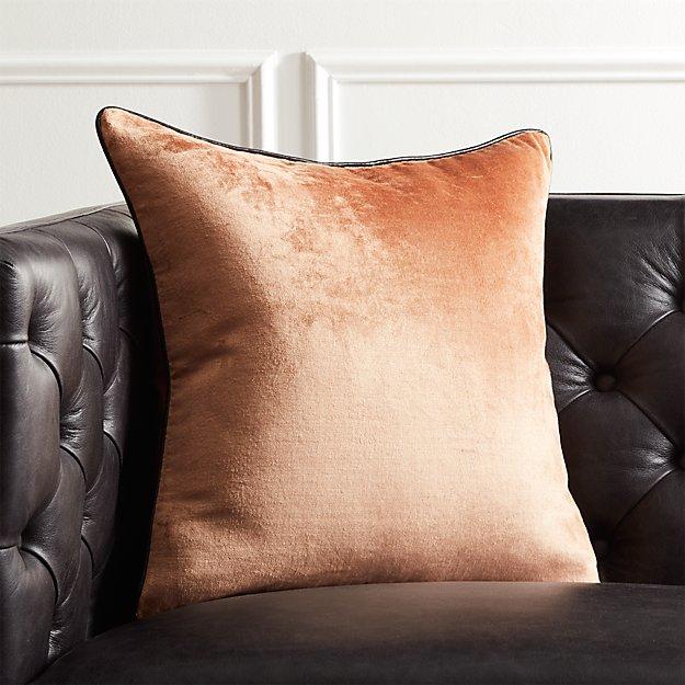 "18"" Copper Crushed Velvet Pillow - Image 1 of 12"