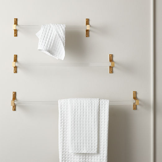 Cubo Brushed Brass Towel Bar 30""