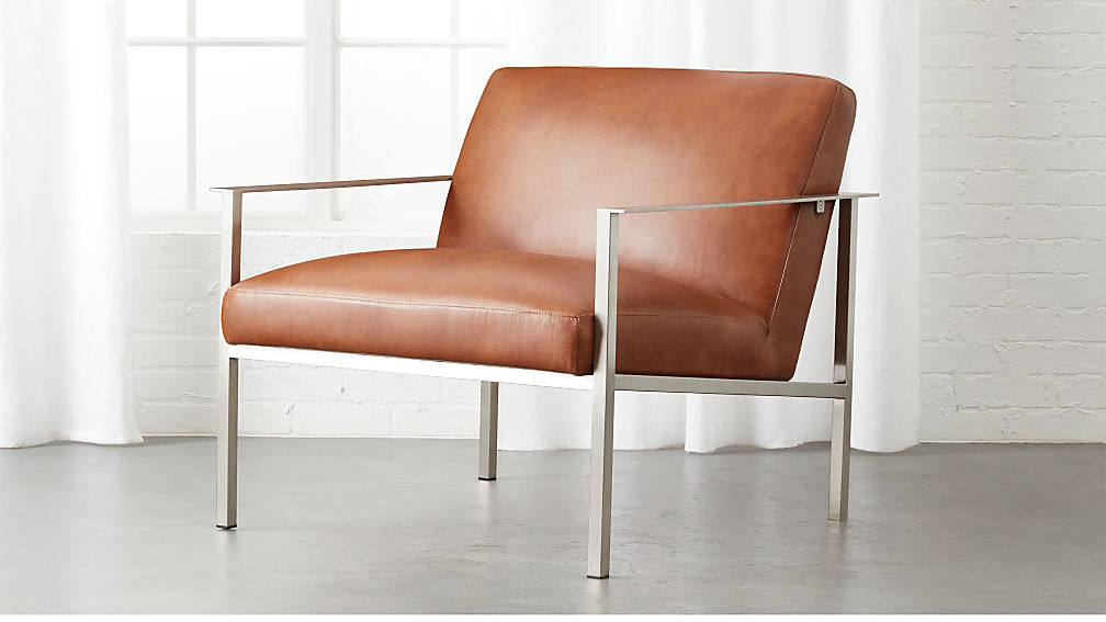 Cue Brown Leather Lounge Chair Reviews Cb2