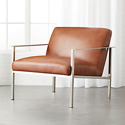 Cue Brown Leather Lounge Chair