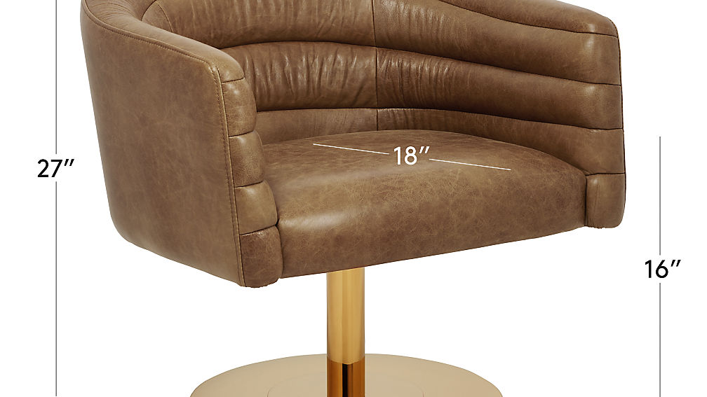Image with dimension for cupa saddle leather swivel base chair