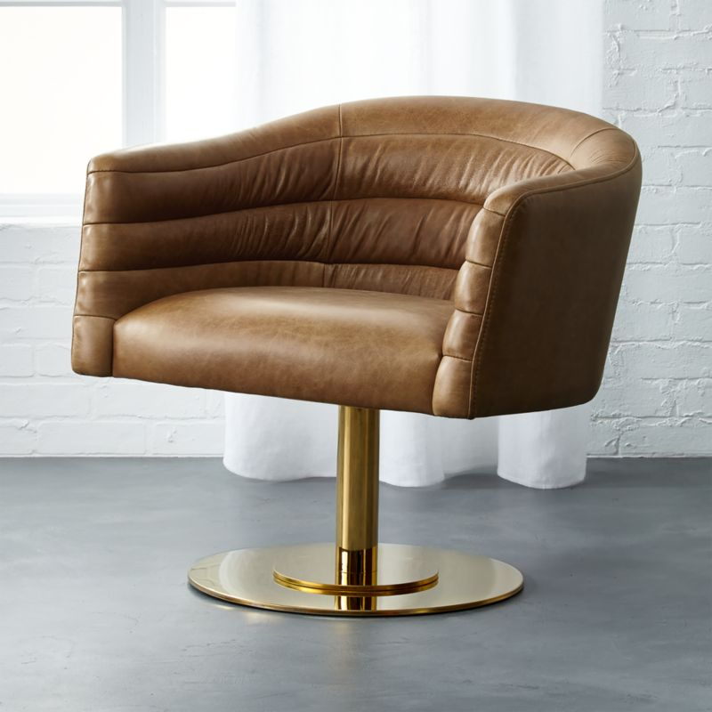 Merveilleux Cupa Saddle Leather Swivel Base Chair